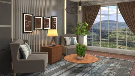 interior with chair. 3d illustration. 写真素材 - 128830577