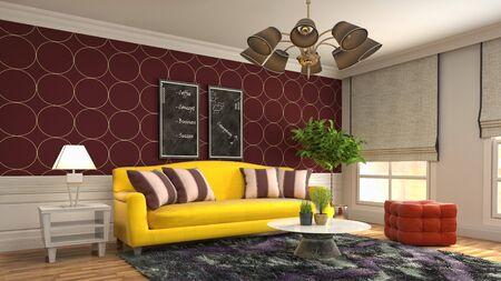 Interior of the living room. 3D illustration. 写真素材 - 128830582