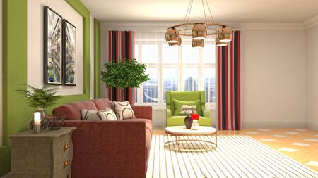 Interior of the living room. 3D illustration. 写真素材 - 128830579