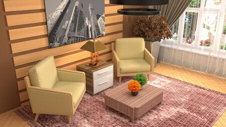 interior with chair. 3d illustration. 写真素材 - 128830581