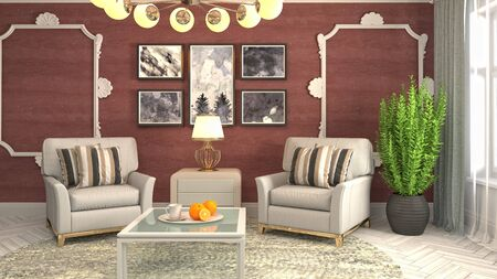 interior with chair. 3d illustration. 写真素材 - 128830584