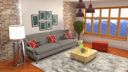 Interior of the living room. 3D illustration. 写真素材 - 128830585