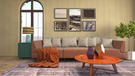 Interior of the living room. 3D illustration. 写真素材 - 128830588