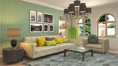 Interior of the living room. 3D illustration. 写真素材 - 128830590
