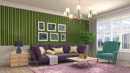 Interior of the living room. 3D illustration. 写真素材 - 128830592