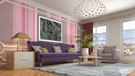 Interior of the living room. 3D illustration. 写真素材 - 128830662