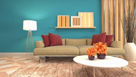 Interior of the living room. 3D illustration. 写真素材 - 128830661