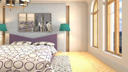 Bedroom interior. Bed. 3d illustration. 写真素材 - 128830663