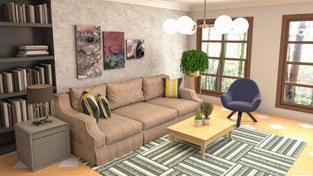 Interior of the living room. 3D illustration. 写真素材 - 128830676