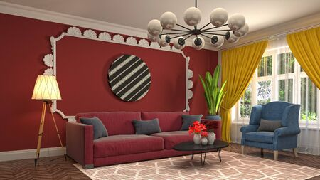 Interior of the living room. 3D illustration. 写真素材 - 128830670