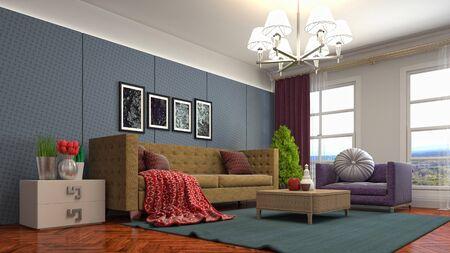 Interior of the living room. 3D illustration. 写真素材 - 128830673