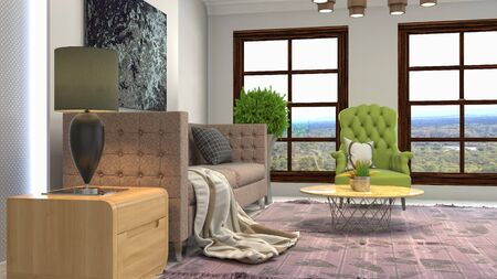 Interior of the living room. 3D illustration. 写真素材 - 128830672