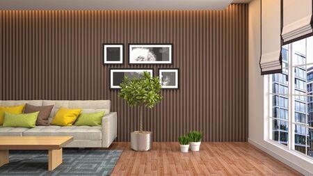 Interior of the living room. 3D illustration. 写真素材 - 128830378