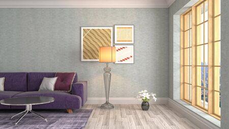 Interior of the living room. 3D illustration. 写真素材 - 128830379