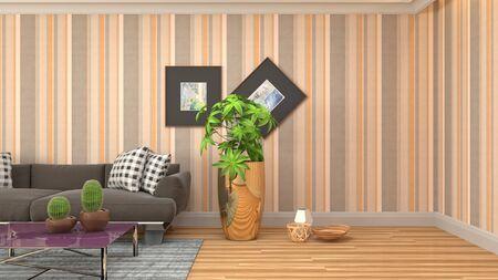 Interior of the living room. 3D illustration. 写真素材 - 128830383