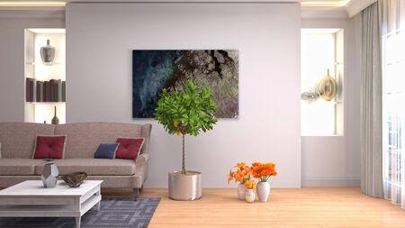 Interior of the living room. 3D illustration. 写真素材 - 128830389