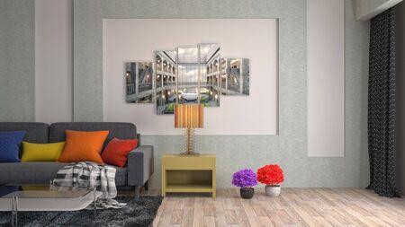 Interior of the living room. 3D illustration. 写真素材 - 128830382