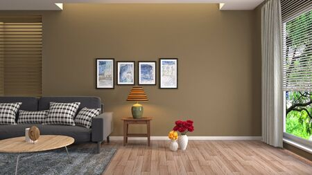 Interior of the living room. 3D illustration. 写真素材 - 128830397