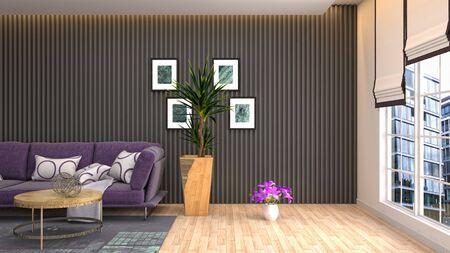 Interior of the living room. 3D illustration. 写真素材 - 128830396