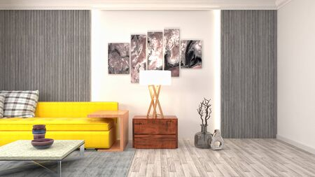 Interior of the living room. 3D illustration. 写真素材 - 128830391