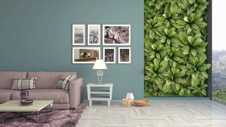 Interior of the living room. 3D illustration. 写真素材 - 128830402
