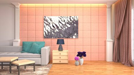 Interior of the living room. 3D illustration. 写真素材 - 128830403
