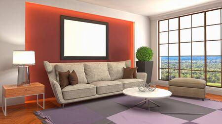 mock up poster frame in interior background. 3D Illustration. Zdjęcie Seryjne