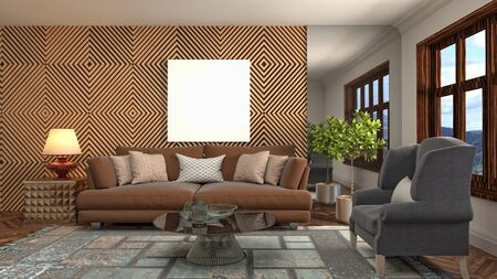 mock up poster frame in interior background. 3D Illustration. Stockfoto