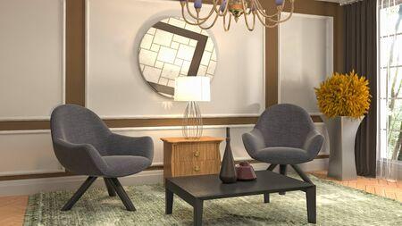 interieur met stoel. 3D illustratie.