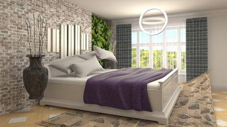 Zero gravity bed hovering in bedroom. 3D Illustration.