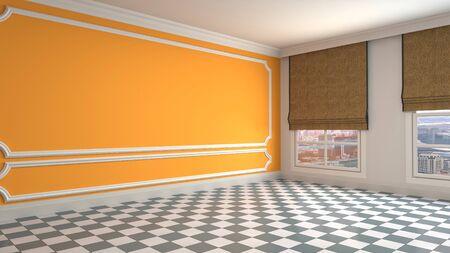 Empty interior with window. 3d illustration. Standard-Bild - 131494454
