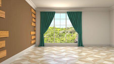 Empty interior with window. 3d illustration. Standard-Bild - 131494462