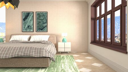 Bedroom interior. Bed. 3d illustration.