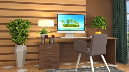 Computer on office table. 3d illustration.