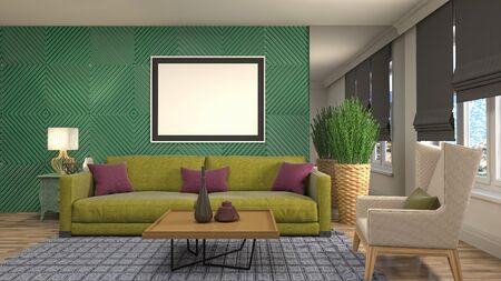 mock up poster frame in interior background. 3D Illustration. Stock Photo