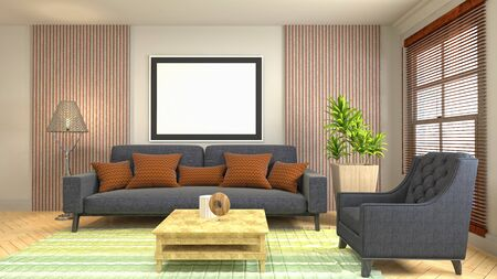 mock up poster frame in interior background. 3D Illustration. Фото со стока - 128725643