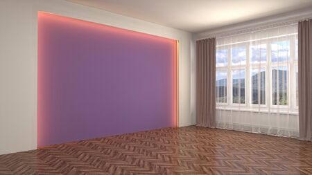 Empty interior with window. 3d illustration. Фото со стока - 128725645