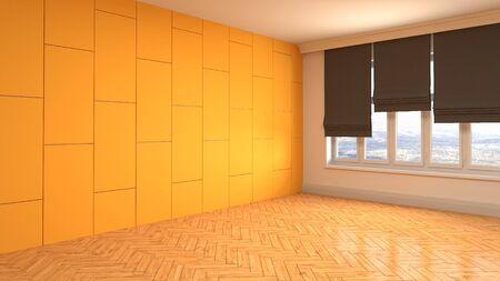 Empty interior with window. 3d illustration. Фото со стока - 128725665