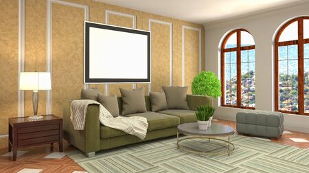 mock up poster frame in interior background. 3D Illustration. Banco de Imagens