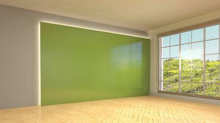 Empty interior with window. 3d illustration.