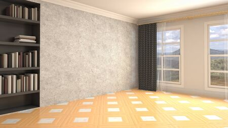 Empty interior with window. 3d illustration.