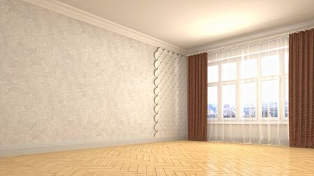 Empty interior with window. 3d illustration. Фото со стока - 128725795
