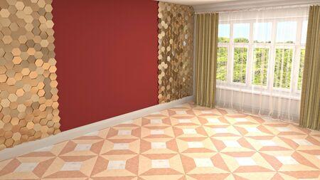 Empty interior with window. 3d illustration. Фото со стока - 128725804
