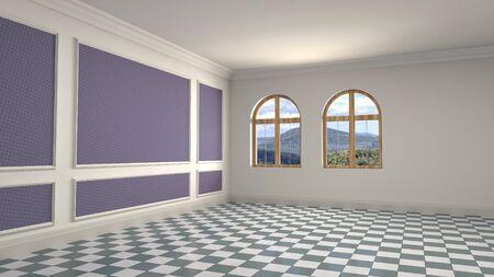 Empty interior with window. 3d illustration. Фото со стока - 128725844