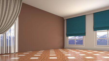 Empty interior with window. 3d illustration. Фото со стока - 128725837