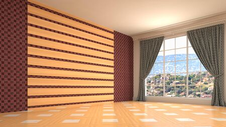 Empty interior with window. 3d illustration. Фото со стока - 128725846