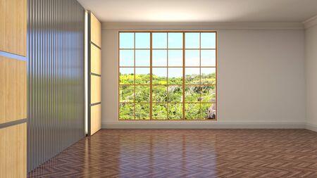 Empty interior with window. 3d illustration. Фото со стока - 128725898