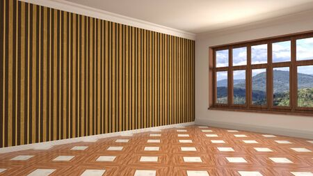 Empty interior with window. 3d illustration. Фото со стока - 128725933