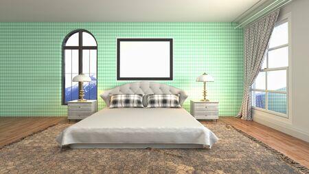mock up poster frame in interior background. 3D Illustration. Reklamní fotografie