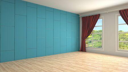 Empty interior with window. 3d illustration. Фото со стока - 128725990